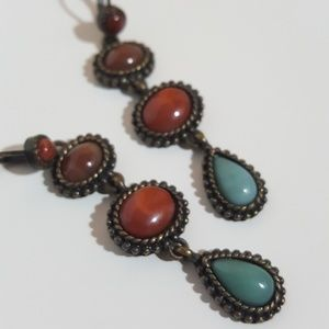 Jewelry - Teal Burnt Orange & Burgundy Beaded Drop Earrings